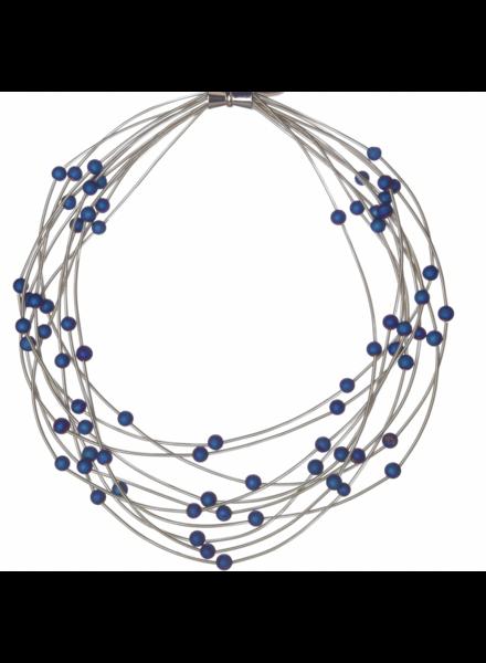 verdigris 10 Layer Silver piano wire necklace w/ Blue Geode