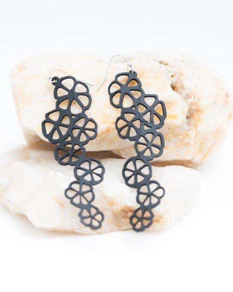 """verdigris 3"""" Cascadin citrus rubber earring"""