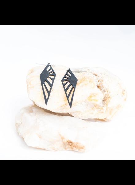 verdigris Medium darcy rubber earring