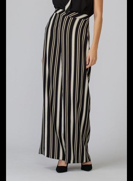 verdigris Striped, full-length wide leg pant