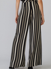 verdigris Striped, full-length wide leg pant