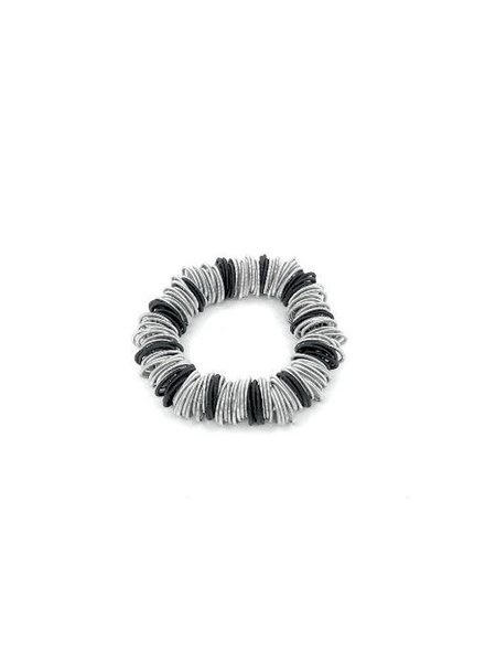 Black and silver spring ring piano wire bracelet