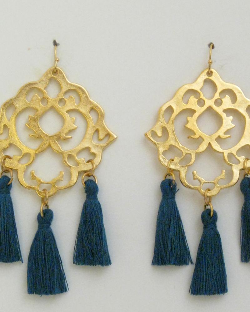 verdigris Handcast Gold Filigree with Dark Teal Tassel Earrings