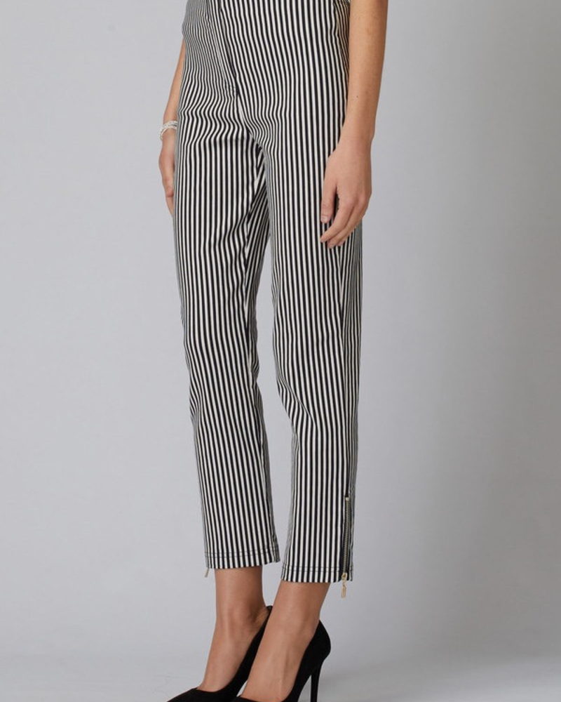 verdigris Striped pants seven-eighths in length