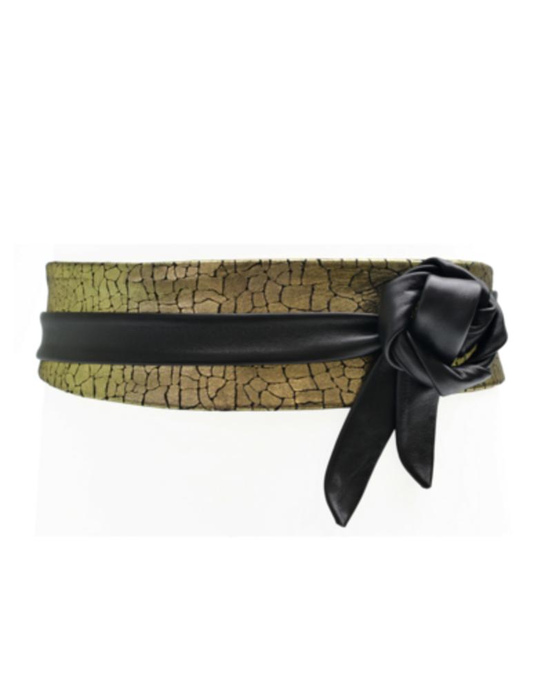 verdigris Wrap Belt, Gold Mosaic