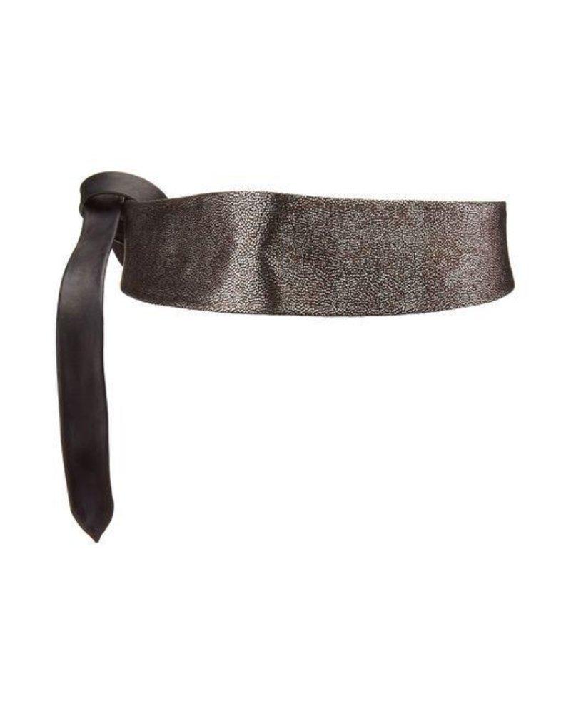 verdigris Wrap leather belt, Silver combo