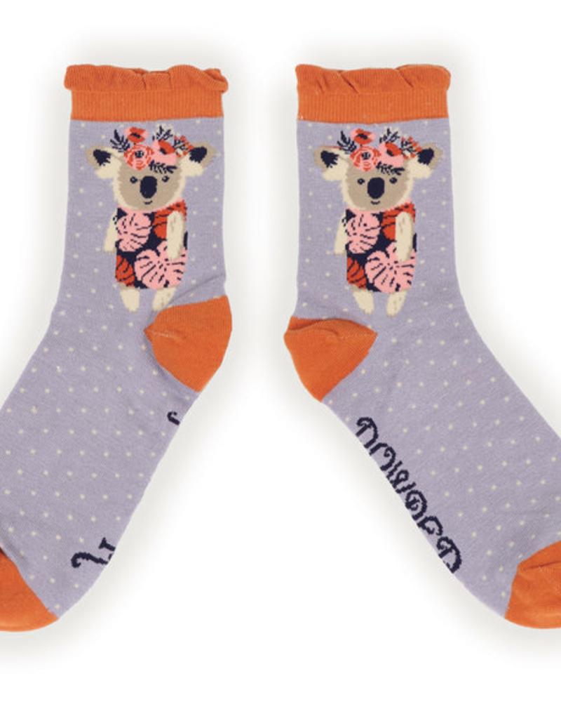 verdigris Floral Koala Ankle Socks