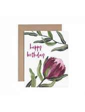 verdigris Protea Happy Birthday Greeting Card
