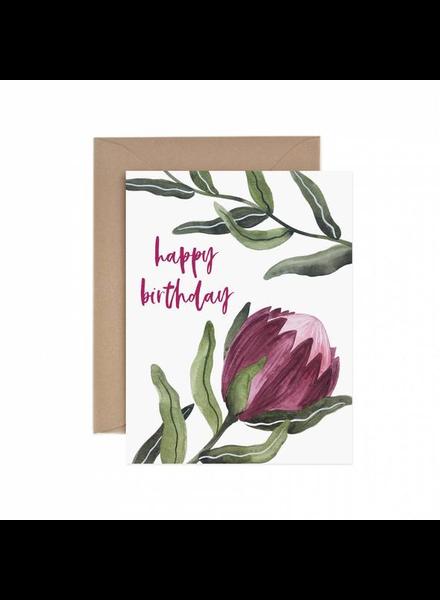 verdigris Protea Happy Birthday Greeting Card