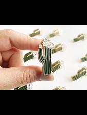 verdigris Olivia Blooming Cactus Enamel Lapel Pin