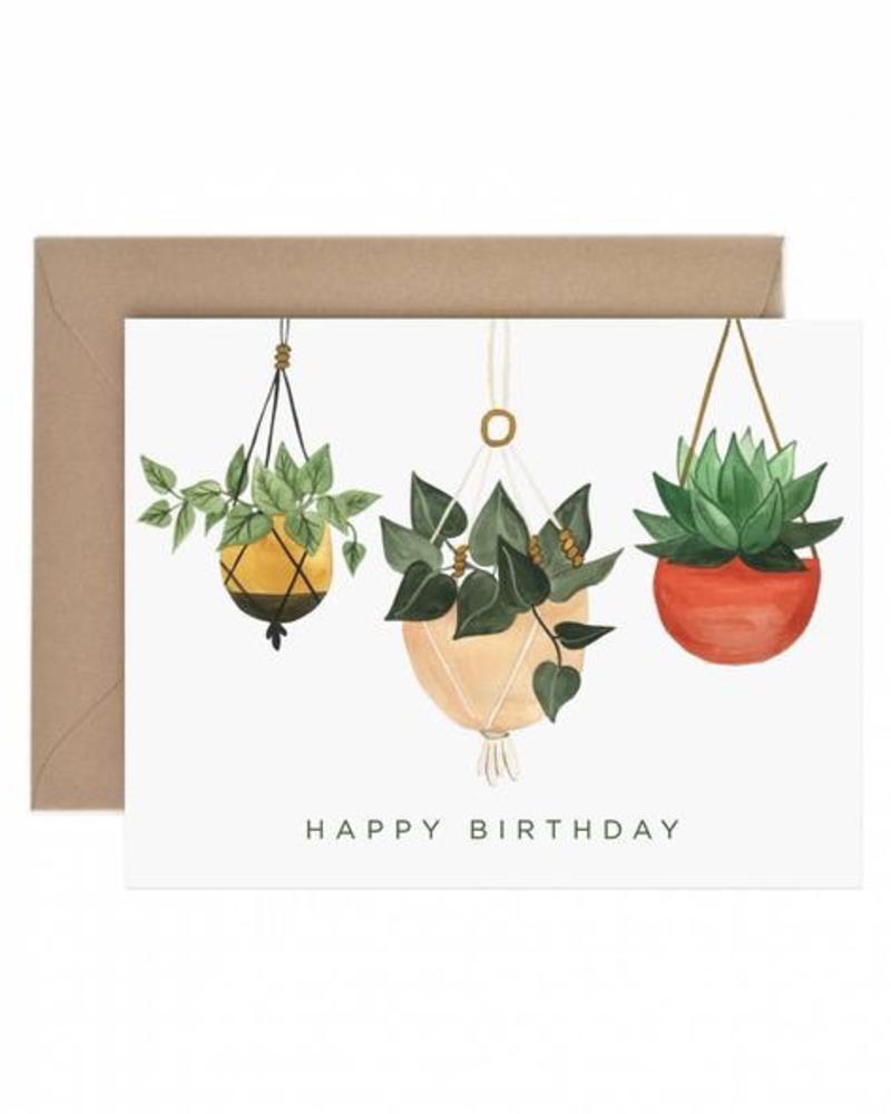 verdigris Hanging Planter Happy Birthday Greeting Card