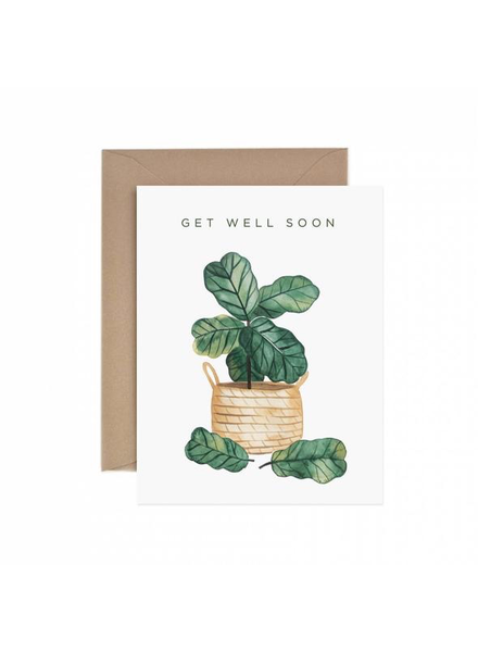 verdigris Get Well Soon Fiddle Leaf Fig Greeting Card
