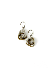 verdigris Silver and Bronze Twisted Loop piano wire Earring