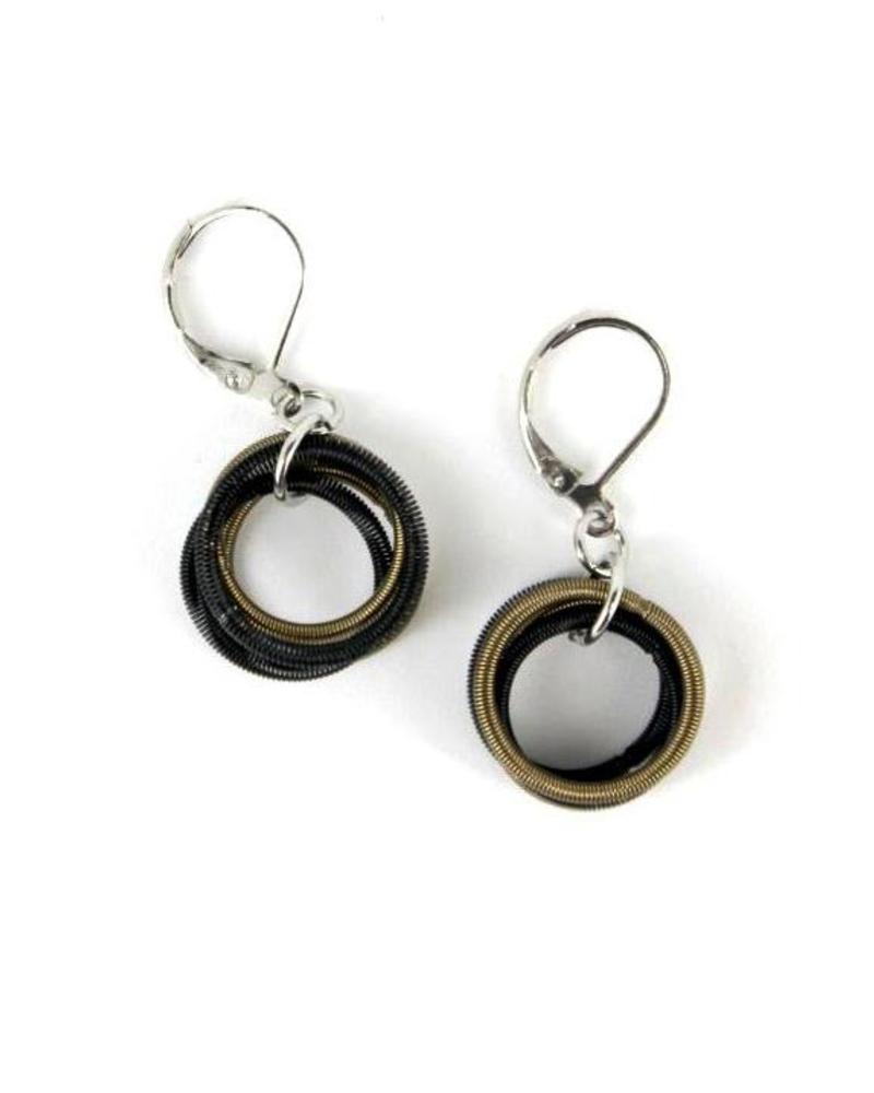 verdigris Bronze/Black piano wire Loop earrings