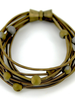 verdigris Bronze 10 Layer piano wire Bracelet <br /> with Silver/Gold Geode