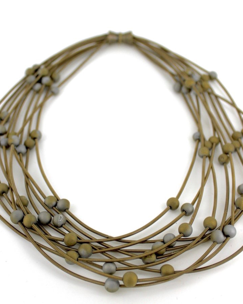 verdigris Bronze 10 Layer piano wire necklace with Silver/Gold Geode