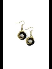verdigris Black & Bronze Twist Loop piano wire earring