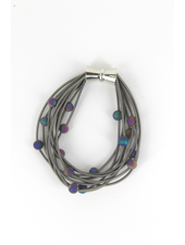 verdigris 10 Layer Slate piano wire Bracelet with Irri Geode