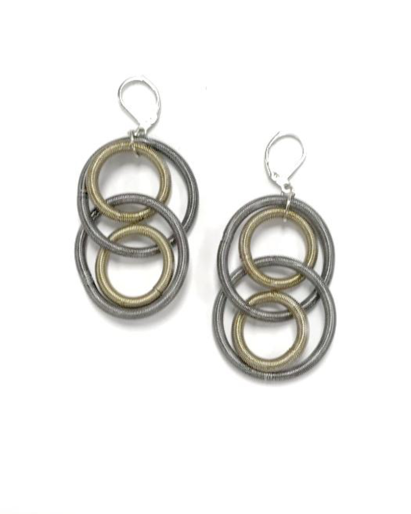 verdigris Slate & Bronze Over Loop piano wire earrings