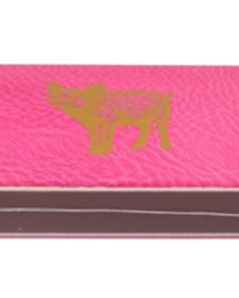 verdigris Matches Gold Foiled Pig on Pink Embossed Matte