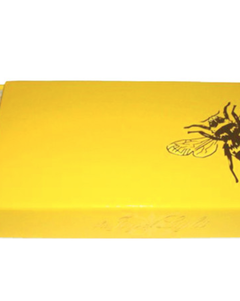 "verdigris Gold Bee on Yellow 4"" Collectable Matchbox"