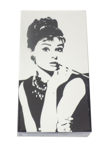 verdigris Audrey Hepburn On Black & White Embossed Matchbox