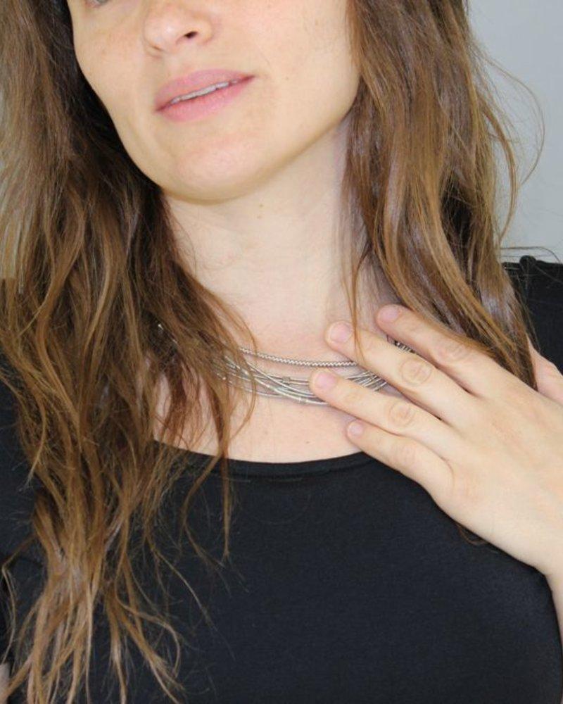 verdigris Silver pianowire mix necklace