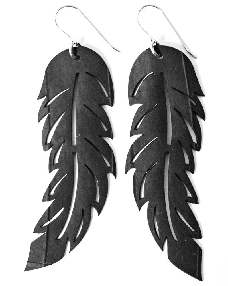 verdigris Large Feather Rubber Earrings