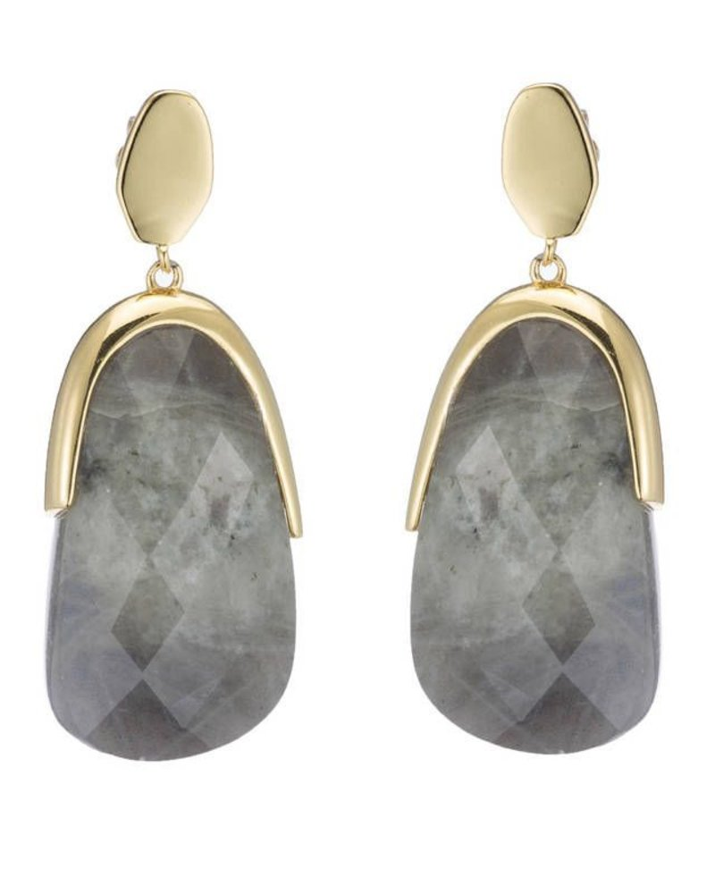 18k gold plated double oval shaped post earrings with faceted dangling stone. Labradorite