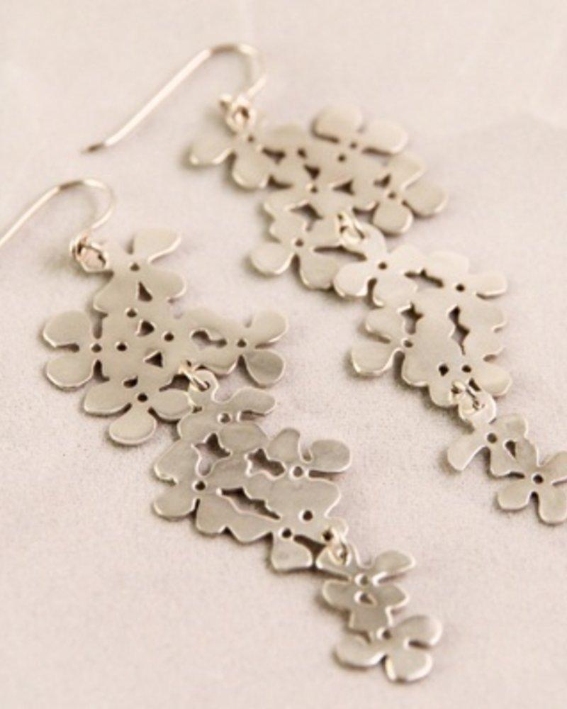 Large Silver Flower Earrings