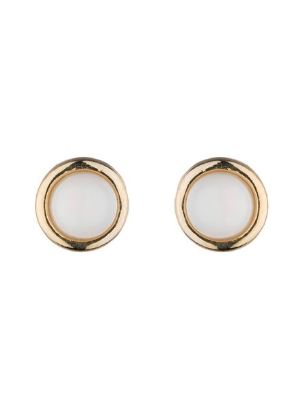 verdigris 18k gold plated tiny round stud<br />mother of pearl