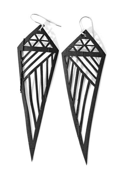 verdigris Geometric Rubber Earrings