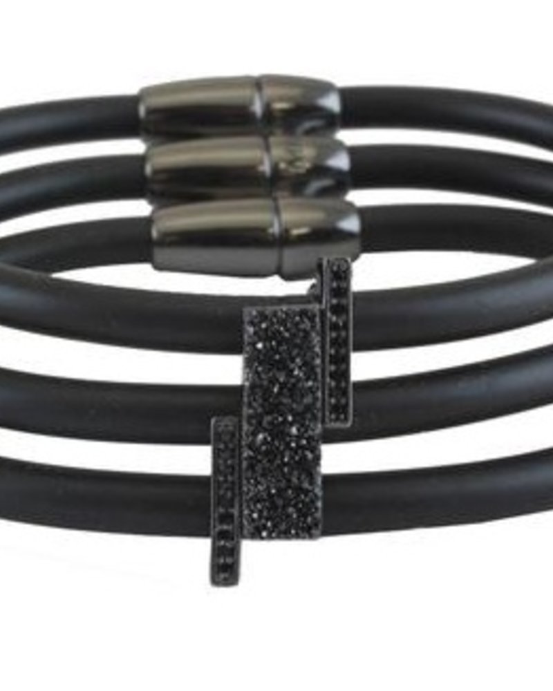 Rubber Bracelet with Three Bands, Druzy Bars and CZ