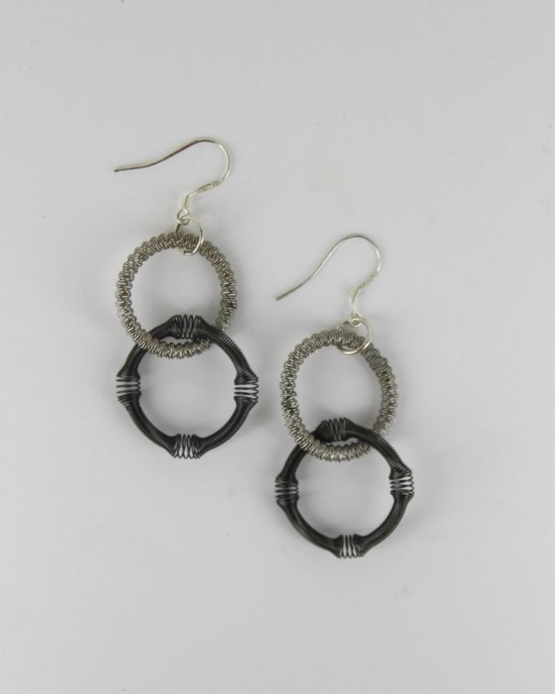verdigris Small Silver and Slate Double Loop Pianowire Earring