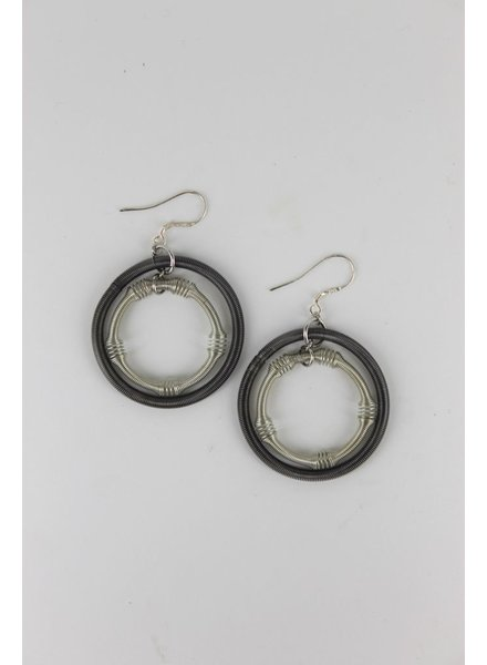 verdigris Large Silver and Slate Double Loop Piano wire Earring