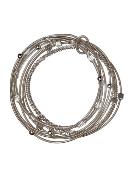 verdigris Silver Multi Texture Piano Wire Bracelet
