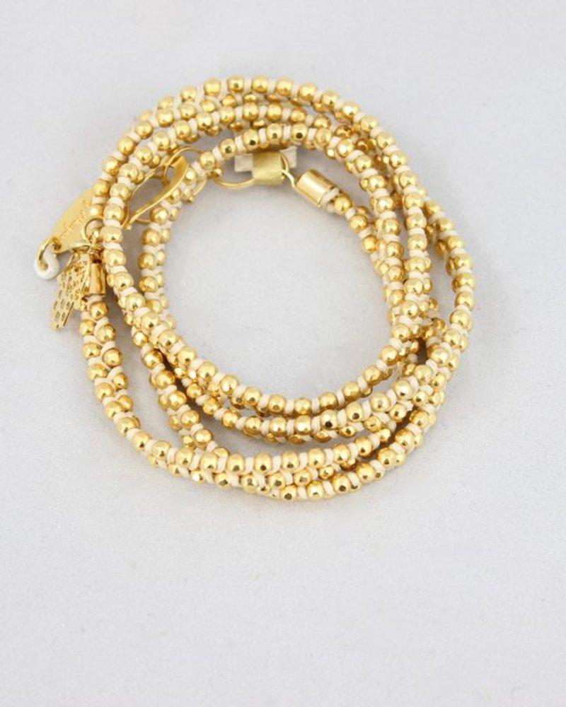 verdigris Disc Bracelet, gold & ivory