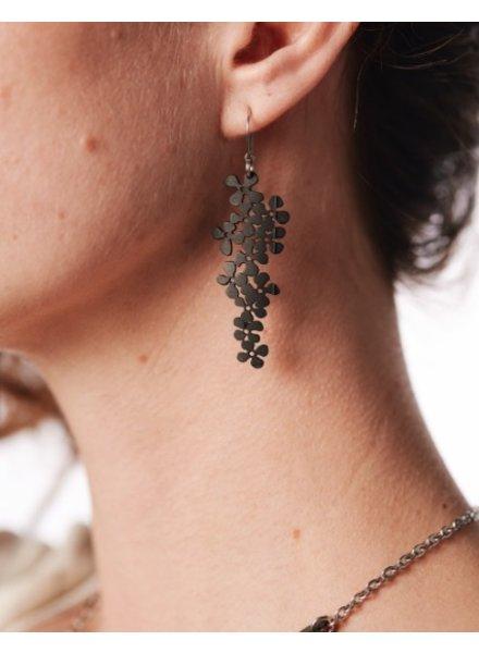 verdigris Small Flower Cluster Rubber Earrings