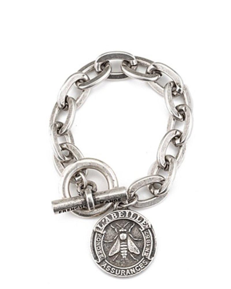 French Kande Silver Lourdes chain with abeilli medallion