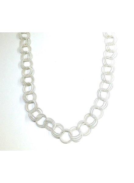 verdigris White long spring ring necklace