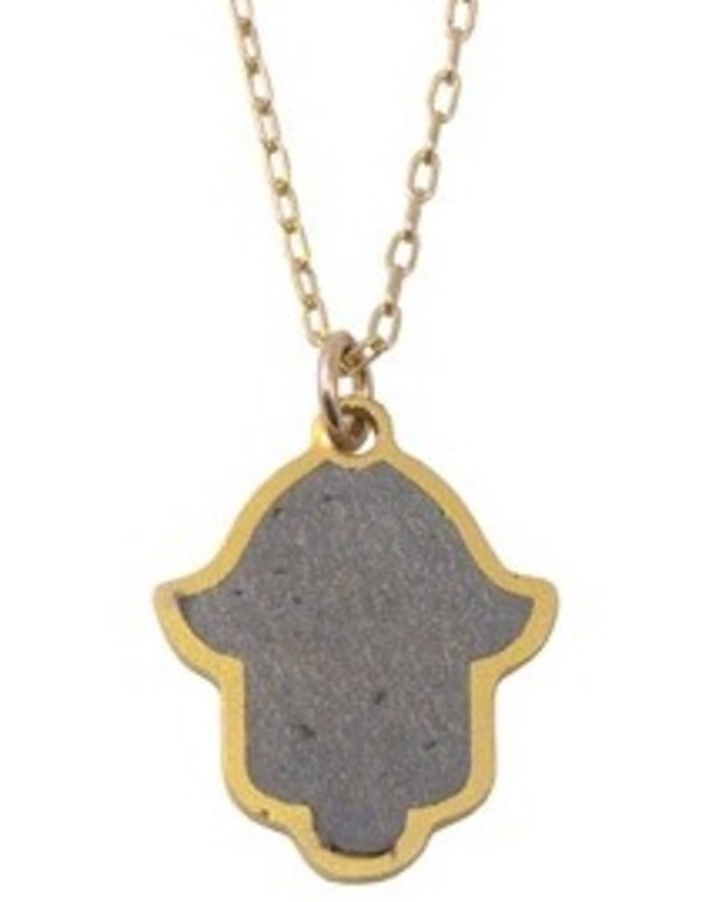verdigris Hamsa Gold & Concrete Necklace