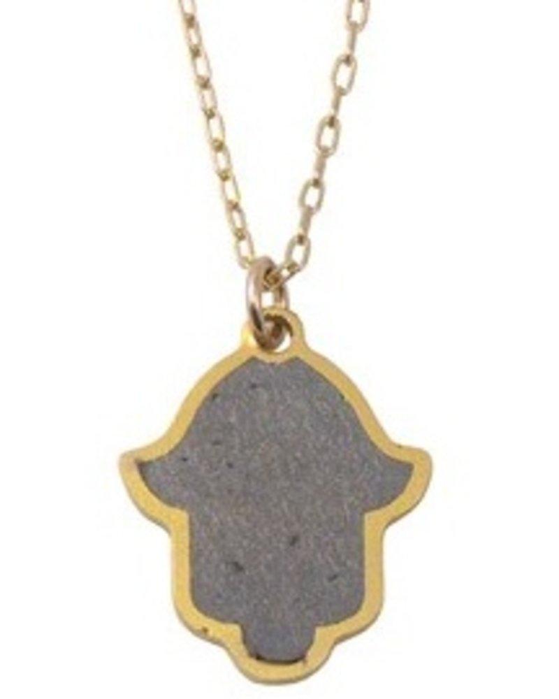 verdigris Hamsa Gold & Concrete Necklace