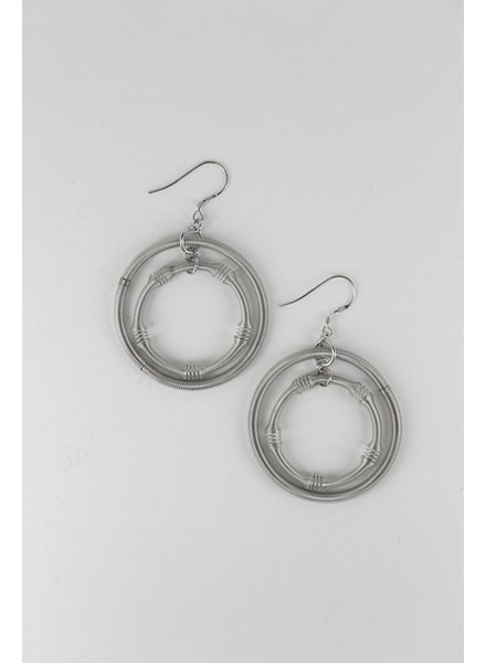verdigris Large silver double loop piano wire earrings