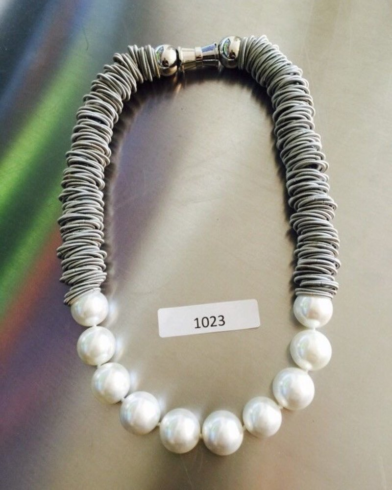 Silver Spring Ring Necklace with White Mother of Pearl