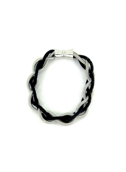Silver & Black Braided Bracelet with Magnet