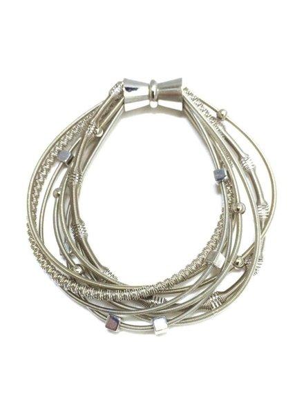verdigris Silver Multi Texture PianoWire Bracelet with Magnetic Clasp