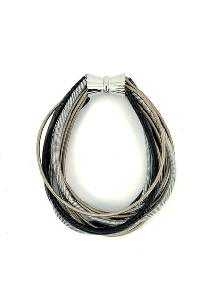 verdigris Black/Silver/Rose Multi Strand Bracelet with magnet