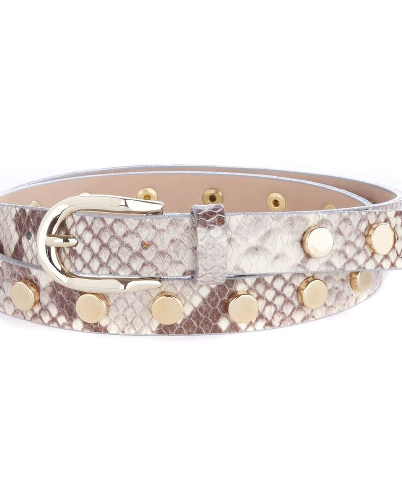 BRAVE Cosette Studded belt in snakey leather