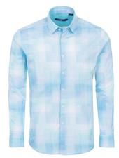 Stone Rose Crinkle Plaid Print Long Sleeve Shirt