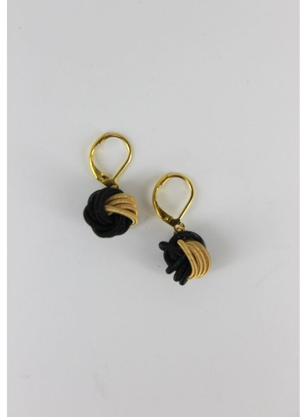 verdigris Black & Gold Knot Piano wire earrings